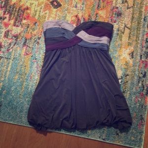 BCBG purple/gray balloon bottom dress.
